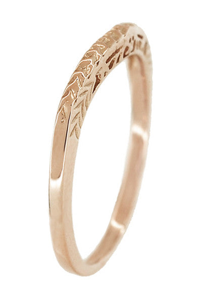 Art Deco Crown of Leaves Filigree Curved Engraved Wedding Band in 14 Karat Rose Gold - Item: WR299R50 - Image: 3