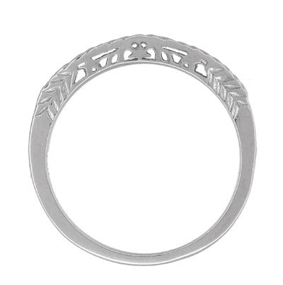 Art Deco Crown of Leaves Curved Filigree Carved Wedding Band - 18K White Gold - Item: WR299W1 - Image: 2
