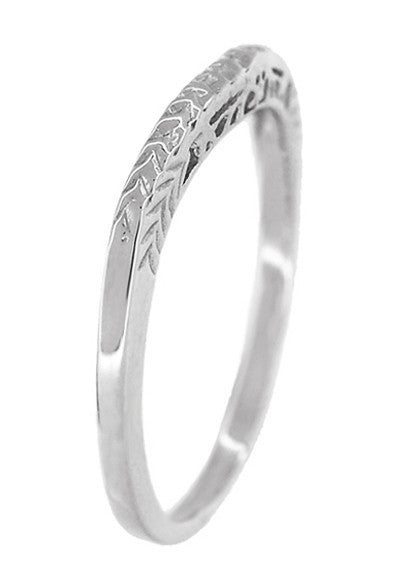 Art Deco Crown of Leaves Curved Filigree Carved Wedding Band - 18K White Gold - Item: WR299W1 - Image: 3