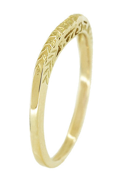 Art Deco Crown of Leaves Curved Filigree Engraved Wedding Band in 14 Karat Yellow Gold - Item: WR299Y141 - Image: 3