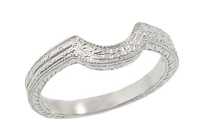 Art Deco Engraved Wheat Curved Wedding Ring in Platinum