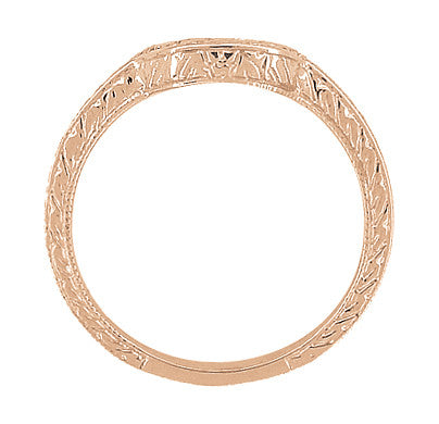 Art Deco Classic Wheat Engraved Contoured Wedding Ring in 14K Rose Gold - Item: WR306R - Image: 2