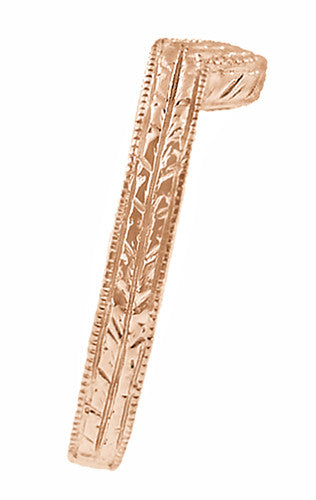 Art Deco Classic Wheat Engraved Contoured Wedding Ring in 14K Rose Gold - Item: WR306R - Image: 1