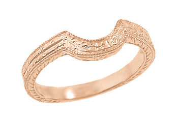 Art Deco Classic Wheat Engraved Contoured Wedding Ring in 14K Rose Gold