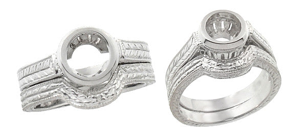 Art Deco Curved Engraved Wheat Wedding Ring in 18 Karat White Gold - Item: WR306W - Image: 3