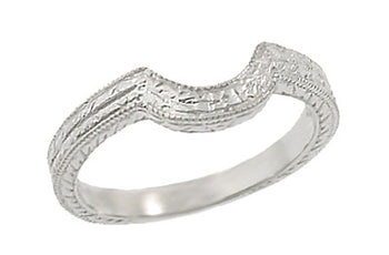 Art Deco Curved Engraved Wheat Wedding Ring in 18 Karat White Gold