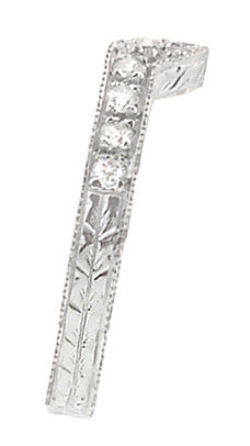 Art Deco Diamond Curved Engraved Wheat Wedding Ring in 18 Karat White Gold - Item: WR306WD - Image: 1