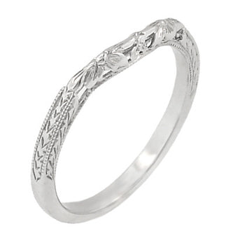 Art Deco Flowers and Wheat Engraved Filigree Wedding Band in Platinum