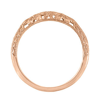 Art Deco Flowers and Wheat Engraved Contoured Filigree Wedding Band in 14 Karat Rose Gold - Item: WR356R - Image: 3
