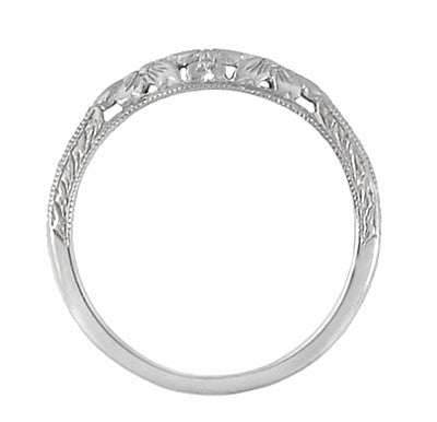 Art Deco Flowers and Wheat Engraved Filigree Wedding Band in 18 Karat White Gold - Item: WR356W - Image: 3