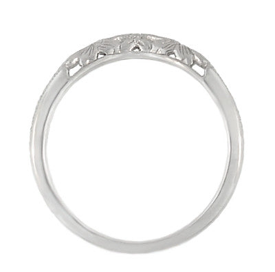 Art Deco Flowers and Wheat Engraved Filigree Wedding Band in 18 Karat White Gold - Item: WR356W - Image: 4