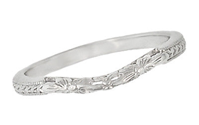Art Deco Flowers and Wheat Engraved Filigree Wedding Band in 18 Karat White Gold - Item: WR356W - Image: 1