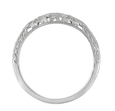 Flowers And Wheat Engraved Filigree Art Deco Wedding Band In 14K White Gold    Item: