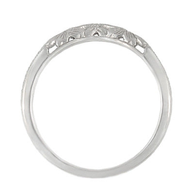 Flowers and Wheat Engraved Filigree Art Deco Wedding Band in 14K White Gold - Item: WR356W14 - Image: 3