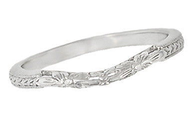 Flowers and Wheat Engraved Filigree Art Deco Wedding Band in 14K White Gold - Item: WR356W14 - Image: 1