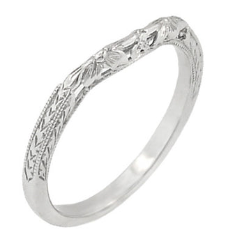 Flowers and Wheat Engraved Filigree Art Deco Wedding Band in 14K White Gold