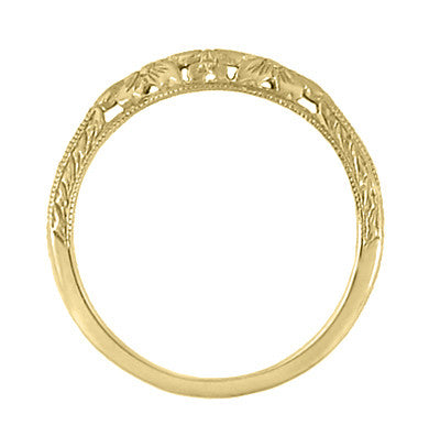 Art Deco Flowers and Wheat Engraved Filigree Wedding Band in 18 Karat Yellow Gold - Item: WR356Y - Image: 3