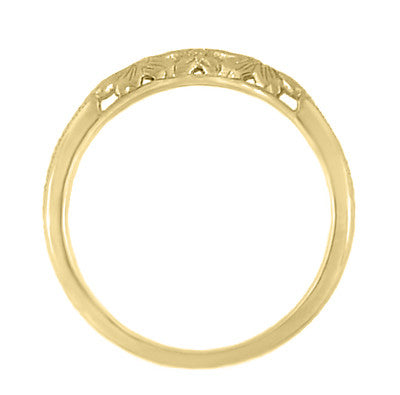Art Deco Flowers and Wheat Engraved Filigree Wedding Band in 18 Karat Yellow Gold - Item: WR356Y - Image: 4