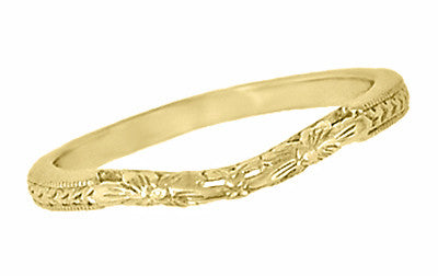 Art Deco Flowers and Wheat Engraved Filigree Wedding Band in 18 Karat Yellow Gold - Item: WR356Y - Image: 1