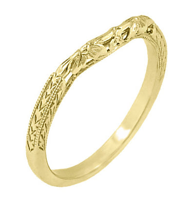 Art Deco Flowers and Wheat Engraved Filigree Wedding Band in 18 Karat Yellow Gold