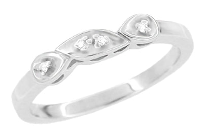 1950's Retro Moderne Diamond Filigree Wedding Ring in 14 Karat White Gold