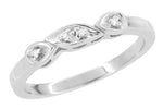 Retro Moderne 1950's Filigree Platinum Diamond Wedding Ring