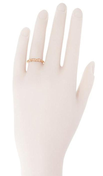Filigree Retro Moderne Diamond Wedding Ring in 14 Karat Rose Gold - Item: WR380R - Image: 2