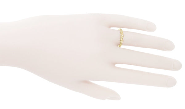 Retro Moderne 14 Karat Yellow Gold Filigree Diamond Wedding Ring - Item: WR380Y - Image: 2