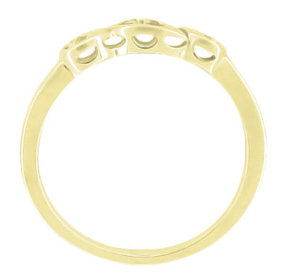 Retro Moderne 14 Karat Yellow Gold Filigree Diamond Wedding Ring - Item: WR380Y - Image: 1