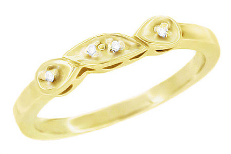 Retro Moderne 14 Karat Yellow Gold Filigree Diamond Wedding Ring