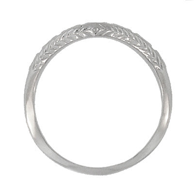 Art Deco Engraved Olive Leaves and Wheat Curved Wedding Band in Platinum - Item: WR419P1 - Image: 1
