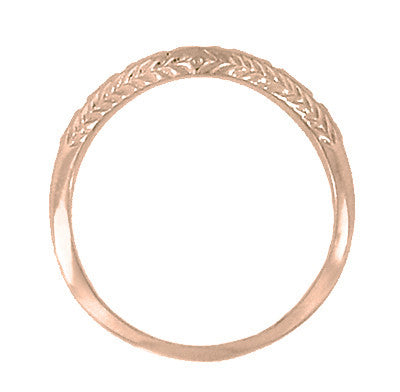Art Deco Olive Leaves and Wheat Engraved Curved Wedding Band in 14 Karat Rose ( Pink ) Gold - Item: WR419R1 - Image: 1