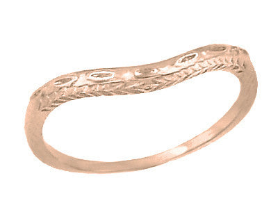 art deco olive leaves and wheat curved engraved wedding ring in 14 karat rose pink - Antique Wedding Ring Sets
