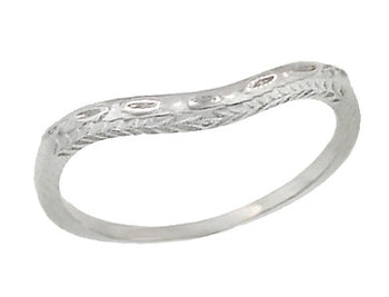 Art Deco Olive Leaves and Wheat Curved Engraved Wedding Band in Sterling Silver