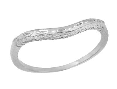 Art Deco Olive Leaves and Wheat Engraved Curved Wedding Band in 14 Karat White Gold