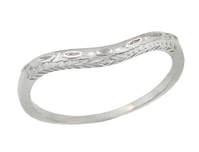 Art Deco Wheat and Olive Leaves Engraved Curved Wedding Band in 14 Karat White Gold