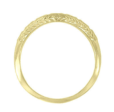 Art Deco Olive Leaves and Wheat Engraved Curved Wedding Band in 18 Karat Yellow Gold - Item: WR419Y118 - Image: 1