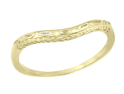 Art Deco Olive Leaves and Carved Wheat Engraved Curved Wedding Band in 14 Karat Yellow Gold