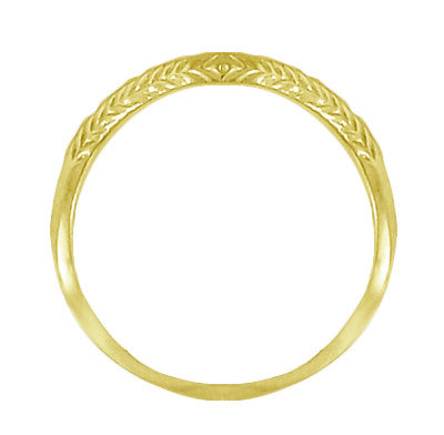 Art Deco Olive Leaves and Engraved Wheat Curved Wedding Band in 14 Karat Yellow Gold - Item: WR419Y2 - Image: 1