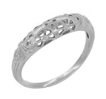 Platinum Art Deco Filigree Dome Wedding Ring
