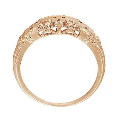 Art Deco Filigree Dome Wedding Ring in 14 Karat Rose Gold - Item: WR428R - Image: 4
