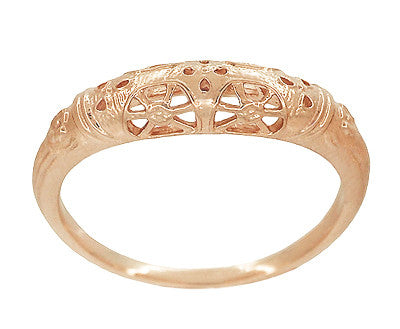 Art Deco Filigree Dome Wedding Ring in 14 Karat Rose Gold - Item: WR428R - Image: 1