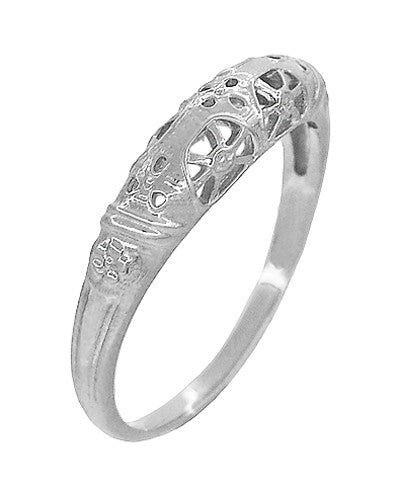 Art Deco Filigree Dome Wedding Ring in 14 Karat White Gold - Item: WR428W - Image: 2