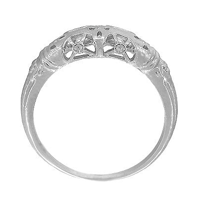 Art Deco Filigree Dome Wedding Ring in 14 Karat White Gold - Item: WR428W - Image: 4