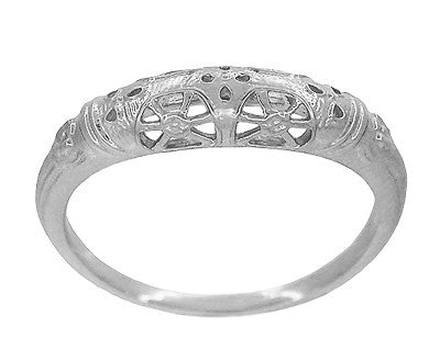 Art Deco Filigree Dome Wedding Ring in 14 Karat White Gold - Item: WR428W - Image: 1