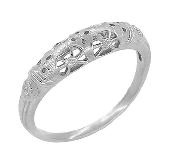 Art Deco Filigree Wedding Ring in 14 Karat White Gold