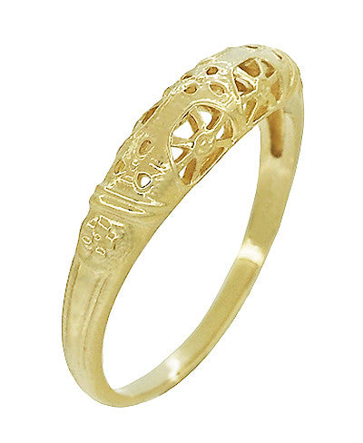 Art Deco 14 Karat Yellow Gold Floral Filigree Dome Wedding Ring - Item: WR428Y - Image: 2