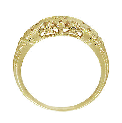 Art Deco 14 Karat Yellow Gold Floral Filigree Dome Wedding Ring - Item: WR428Y - Image: 4