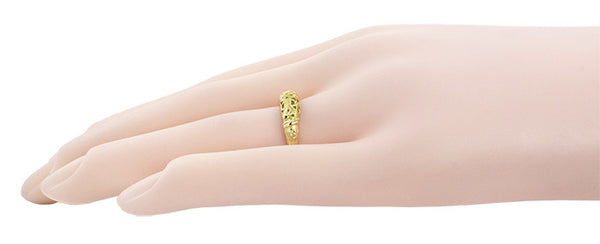 Art Deco 14 Karat Yellow Gold Floral Filigree Dome Wedding Ring - Item: WR428Y - Image: 6