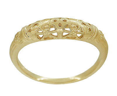 Art Deco 14 Karat Yellow Gold Floral Filigree Dome Wedding Ring - Item: WR428Y - Image: 1
